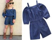 e62fff15d176 New Summer Baby Girls Denim Jumpsuits Kids Suspender Jeans Slash Neck Kids  Girl Onesies Rompers Children Jumpsuits 14525