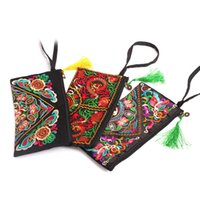 Wholesale vintage embroidered flowers bag for sale - Group buy Women Ethnic National Retro Butterfly Flower Bags Handbag Coin Purse Embroidered Lady Clutch Tassel Small Flap Summer