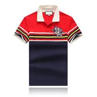 gelbe poloshirts männer großhandel-19SS Summer New Herrenbekleidung Designer T-Shirt Vorne Rot Gelb Blau Weiß Gestreift Revers Designer Polo T-Shirt