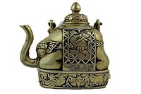 Wholesale gold silver pots for sale - Group buy Details about Chinese Collectible Old Handwork Tibet Silver Carve Flower Elephant Big Tea pot