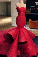 kırmızı payet kılık elbisesi toptan satış-Romantik Kırmızı Mermaid Sevgiliye Saten Örgün Abiye Dantel Sequins Uzun Gelinlik Modelleri Pageant Törenlerinde 2019 Yeni
