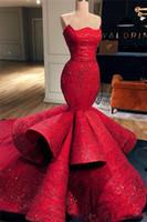 robes romantiques pour le bal achat en gros de-Romantique Sirène Rouge Satin Robes De Soirée Formelles Dentelle Paillettes Longues Robes De Bal Pageant Robes 2019 Nouveau