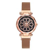 счастливые часы оптовых-2019 лучшие продажи модные женские часы с бриллиантами большой циферблат повезло цветок кварцевые сетки пояса браслет часы relogio femino Wd3