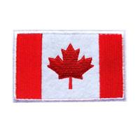 ingrosso bandiere diy-8 cm ricamato patch bandiera canada foglia d'acero cucire ferro su badge per borsa jeans cappello t shirt diy appliques decorazione del mestiere