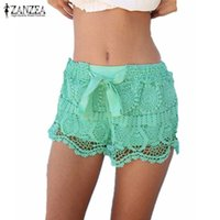ingrosso pantaloncini in pizzo zanzea-Nuovo arrivo 2019 Estate ZANZEA donna Shorts Casual Lace coulisse Hollow Out Shorts Solid Sweet Shorts Per le donne Plus Size 3XL S190423