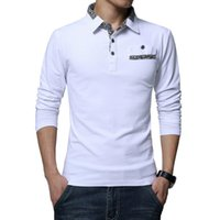 Wholesale long polos for sale - Plus Size Men Polos Shirt Long Sleeve Casual Grey Cotton Man Polo Shirts Autumn Winter Fitness Male Pullover