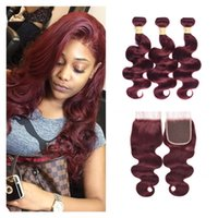 Wholesale ombre hair dye colors for sale - Group buy Brazilian Body Wave Human Hair Bundles With Closure Red j Burgundy Human Hair Weave Extension Bundles With Lace Closure
