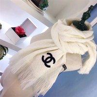 bufandas de lana pura al por mayor-Pura simple de lujo color bufandas de la borla de lana Chales mujeres de los hombres del doble C impresión de las letras de las bufandas de la bufanda suave diseños de invierno, bufanda caliente