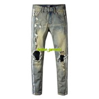 Wholesale designer trousers men online - Brand New Mens Distressed Ripped Biker Jeans Casual Trousers Slim Fit Motorcycle Biker Denim Fashion Designer Pants Hip Hop Mens Jeans