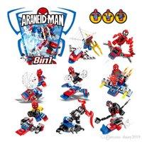 tom de filme venda por atacado-SY1272 Os Vingadores 4 Filmes Super Heróis 8 em 1 Homem-Aranha Mech Dois Tons Brinquedo humano