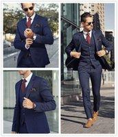 en iyi erkekler resmi takım elbiseleri toptan satış-Groomsmen İyi Adam Düğün 3 ADET Custom Made Slim Fit İş Erkek Düğün Smokin Resmi Amaçlar Suits