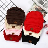 Wholesale cc winter hats for sale - Group buy United States Fall And Winter Selling CC Ms Labeling Pure Color Winter Hats Wool flanging Knitted Cap
