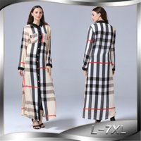 Hot Selling Plaid Print Dress Polyester Stand Collar Loose Long Sleeve Ladies Fashion Cardigan Button Shirt Dress Oversized Clothing L-7XL