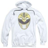 hoodie branco da guarda florestal venda por atacado-Mighty Morphin Power Rangers MÁSCARA RANGER BRANCA Moletom Adulto