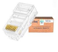 rj45 rj 45 venda por atacado-100pcs Cristal 8Pin RJ45 Módulo plug RJ45 Ethernet Cable Network Adapter Connector Para Cat5 Cat5e Rj 45 Plugs