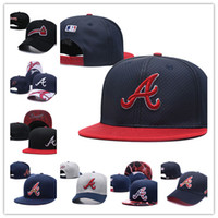 Men s Braves adjustable hat flat brim embroiered team A letter logo fans  baseball Hats Cheap Baseball High Crown Caps braves full closed cap 02c54a55c40