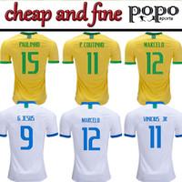 feine hemden großhandel-New 19/20 Brasilien billig und fein Fußball Trikots WM Brasilien Rivaldo / R. Carlos Brasilien Fußball Trikots Shirt versandkostenfrei