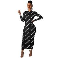 elegantes faldas hasta los tobillos al por mayor-Falda de diseñador de mujer vestido de una pieza de manga larga maxidress flaco de alta calidad falda de moda elegante sexy Vestido de tobillo klw2318