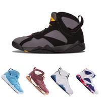 zapatillas de baloncesto moradas para hombre. al por mayor-2018 nuevos 7 zapatos de baloncesto hombres mujeres 7s VII púrpura UNC Olímpico Panton Dinero puro Nada Raptor N7 Zapatos Trainer Zapatillas de deporte