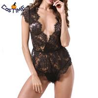 siyah sırf kadın s iç çamaşırı toptan satış-Kadın Seksi Siyah Çiçek Dantel Derin V Elbise Cap Sleeve Dalma Ön Bodysuit Sheer Dantel Gelin Kostüm İç Pijama
