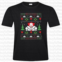mann kurzarm pullover groihandel-Pennywise Weihnachten Sweater-Pennywise gedruckte beiläufige Art und Weise Rundhalsausschnitt-Männer schwarze kurze Ärmel Tops T Shirt Größe S-3XL