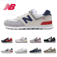 red wine toptan satış-2019 New Balance NB 574 running shoes for men women top quality black wine red grey fashion mens trainers jogging walking runner sports sneakers 36-44