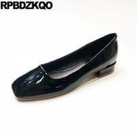 zapatos lisos negros de cuero mujer al por mayor-Damas planas punta cuadrada zapatos baratos diseñador de china pisos bailarina azul ballet negro trabajo amarillo chino charol