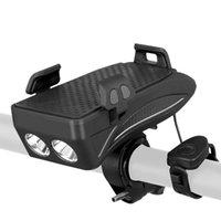 водонепроницаемый держатель телефона для велосипеда оптовых-Регулируемый велосипедный кронштейн для телефона Водонепроницаемый держатель для велосипедной стойки с рупором Led Light для горных велосипедов и мотоциклов