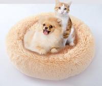 yuvarlak köpek evi toptan satış-Yuvarlak Şekil Köpek Kulübesi Kedi Yatak Kış Sıcak Peluş Pet House Şeker Renk Yavru Teddy Yumuşak Yuva