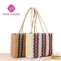 Wholesale womens luxury fashion purses for sale - Pink sugao brand fashion luxury designer bags womens designer handbags oversize handmade straw handbag travel purses brand fashion
