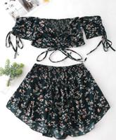 плакированная труба оптовых-Сексуальное женское платье Лето печати топ кружева с плеча небольшой цветочный костюм вырезать рубашка бюстгальтер мини узкая юбка дамы вечернее платье одежда