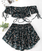 çiçek borusu üstleri toptan satış-Seksi kadın Elbise Yaz Baskı Tüp Üst Dantel Kapalı Omuz Küçük Çiçek Takım Elbise Kesim Gömlek Sutyen Mini Sıkı Etek Bayanlar Abiye giyim