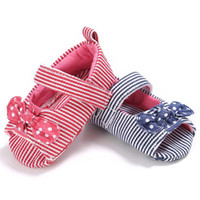 Wholesale cute sweet shoes for sale - Baby Girls peep toe cloth sandals Toddlers cute dots bow decoration slim striped summer shoes colors sweet Girls soft sole first walkers