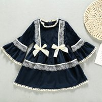 Wholesale baby girl corduroy dress resale online - Baby Kids Girls Lace Bow Corduroy Dress Bell Sleeve Spring Fall Clothes Western Party infant Lovely Dress