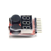 тестер напряжения аккумулятора оптовых-RC Lipo Батарея Сигнализация низкого напряжения 1S-8S Зуммер Индикатор Тестер Светодиодные измерители напряжения
