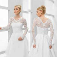 Wholesale white long sleeve bridal shawls resale online - Lace Bridal Wraps Jackets White V Neck Long Sleeve Wedding Boleros Shawls For Wedding Dresses Bridal Gowns Large Size