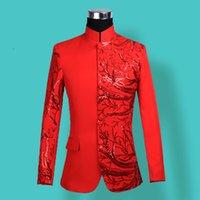 roupas de vermelho chinês venda por atacado-Homem Vermelho Applique Blazer Novo Padrão Paillette Stage Chorus Show Servir Cantor Mestre De Cerimônias Host Clothing Chinês Túnica Terno