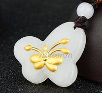 ingrosso oro della farfalla di giada-Oro bianco naturale giada + oro massiccio 18 carati ciondolo a forma di farfalla amuleto fortunato + certificato collana fine gioiello