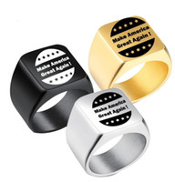 Wholesale golden man rings for sale - Group buy Trump Election Rings Donald Trump Stainless Steel Ring Men Women Titanium Make America Great Again Ring Jewelry color GGA2610