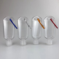 50ML Empty Plastic Alcohol Refillable Bottle with Key Ring Hook Clear Transparent Plastic Hand Sanitizer Bottle Easy to Carry for Travel