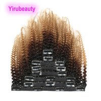 Wholesale curly clip hair extensions set for sale - Group buy Indian Afro Kinky Curly B Ombre Human Hair g set b Clip in Hair Extensions g inch