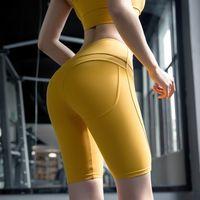 kız dar streç pantolon toptan satış-2019 Spor Salonu Şort Womens Kız Yoga pantolon Itme Kalçalar hızlı kuruyan streç yüksek bel sıkı koşu pantolon Diz boyu şort