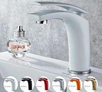 kırmızı musluklar toptan satış-Havzası Musluk Su Dokunun Banyo Bataryası Katı Siyah Kırmızı Pirinç Krom Altın Kaplama Tek Kolu Su Lavabo Dokunun Mikser