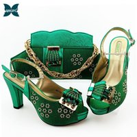 sandalias italianas mujeres al por mayor-Los zapatos a juego con los zapatos del partido bolsas del conjunto de diseño de las mujeres italianas y bolso fija nigeriana mujeres de alta sandalias y bolso