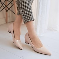 beige niedriger heeled pumpenschuh groihandel-Hot Sale-Pumps Lackleder Neu Low-Heels Pointed Damenschuhe Big 40 41 42 Small 33 High Heel 3.7CM EUR Größe 32-43