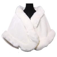 vestidos de dama de invierno chaquetas al por mayor-Abrigos nupciales Invierno Piel sintética Estola Abrigo de invierno nupcial Señoras Chaquetas de noche Mantón de la boda Encogimiento de hombros Boleros