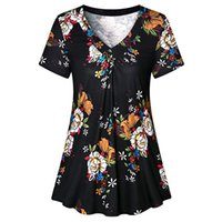 a6dab23fb844c4 Fashion Women Pleated Short Sleeve V Neck Casual Blouse Top Tunic Shirt  womens tops and blouses plus size shirt