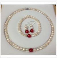 pulseras rojas de jade blanco al por mayor-7-8mm Real White Akoya Cultured Pearl / Red Jade pulseras collar conjunto de aretes