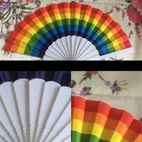 Wholesale blue white hand fans for sale - Group buy Folding Plastic Hand Fans red white Blue Patchwork Propaganda Hands operated Rainbow fan multi colors styles new Arrival zq L1