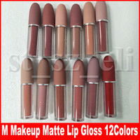 Wholesale nude lipsticks for sale - Group buy M Makeup Matte Lip Gloss Nude Liquid Lipstick Lustre Lips Lipgloss colors